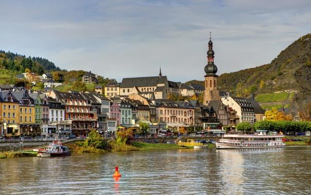 Фото обои река, улица, дома, городок, архитектура, германия, Germany