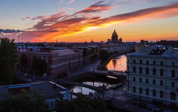 Фото обои здания, высота, дома, вечер, Russia, питер, санкт-петербург