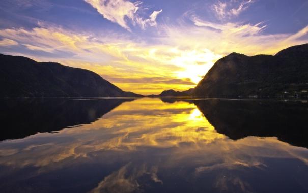 Фото обои закат, горы, отражение, река, river, sunset, mountains