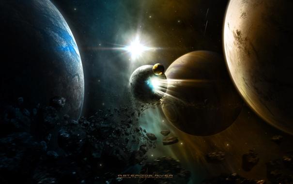 Фото обои обломки, планеты, астероиды, комета