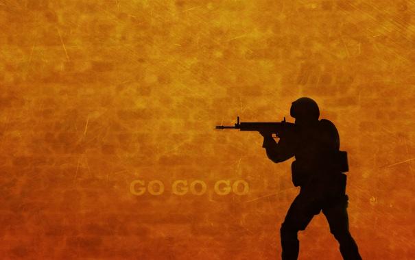 Фото обои желтый, красный, оружие, надпись, тень, автомат, спецназ