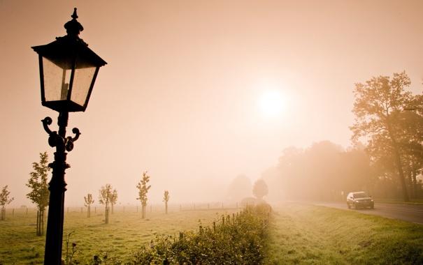 Фото обои дорога, поле, фонарь
