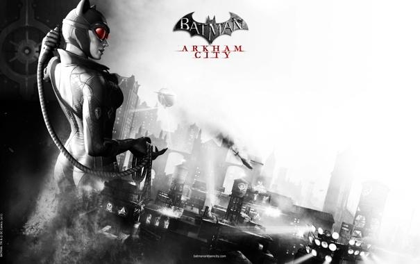 Фото обои город, batman, arkham city, catwoman