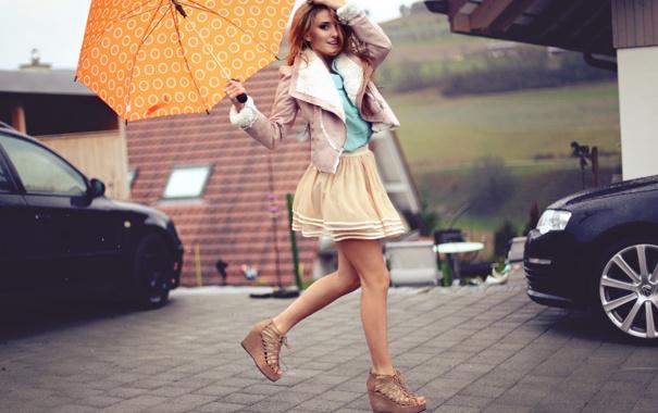 Фото обои девушка, зонтик, юбка, зонт