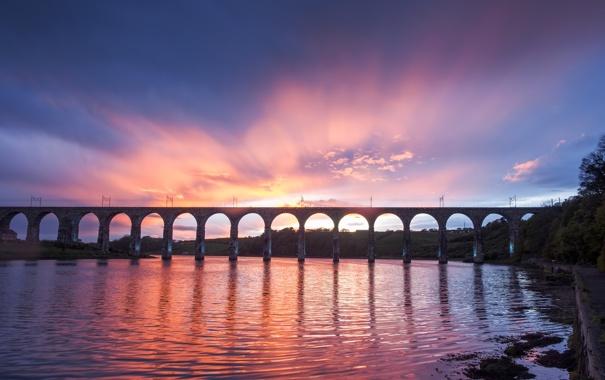 Фото обои небо, облака, мост, река, берег, Англия, вечер