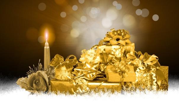 Фото обои снежинки, абстракция, роза, свеча, подарки, золотой, Новогодние