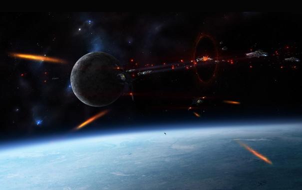 Фото обои космос, взрывы, звёзды, Планета, битва, сражение, космические корабли