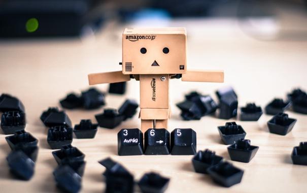 Фото обои коробка, клавиатура, amazon