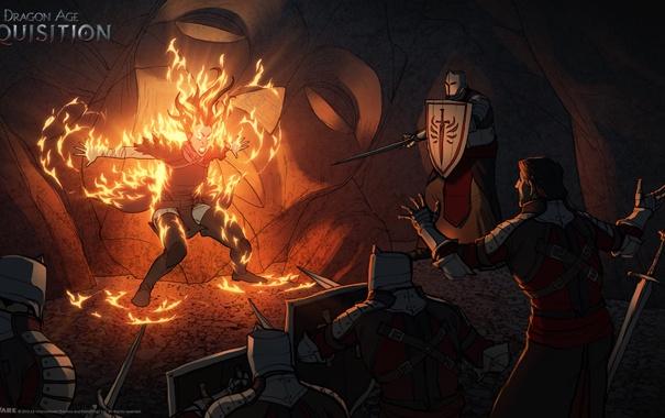 Фото обои огонь, маг, воины, confrontation, Dragon Age: Inquisition