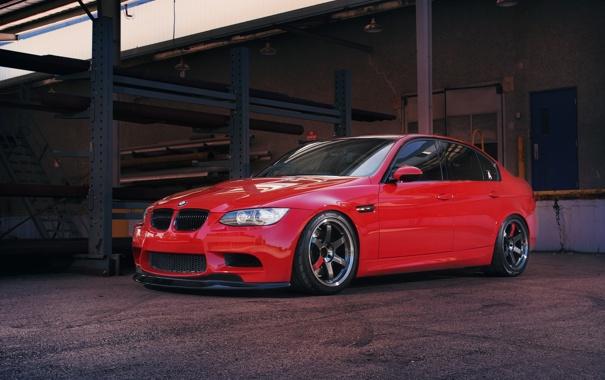 Фото обои красный, bmw, бмв, red, седан, спортивный, e90