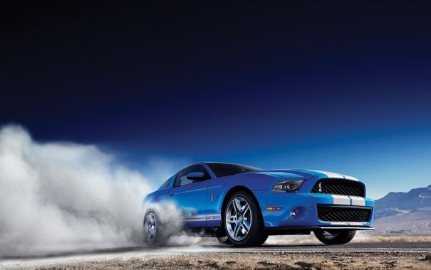 Фото обои небо, горы, синий, дым, Ford, Shelby, GT500