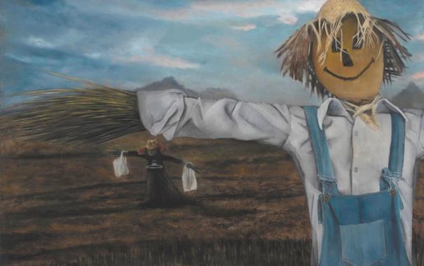 Фото обои картина, норвежский художник, Christer Karlstad, Scarecrows