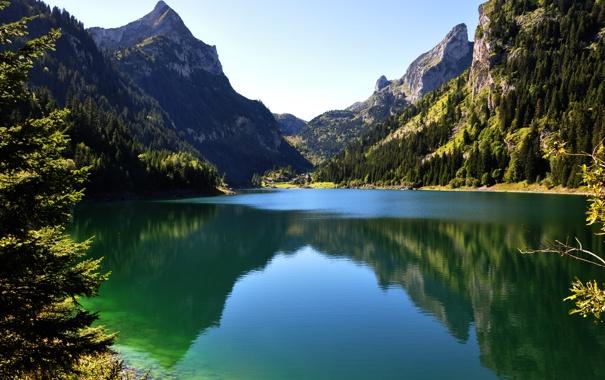 Фото обои лес, небо, горы, озеро, отражение