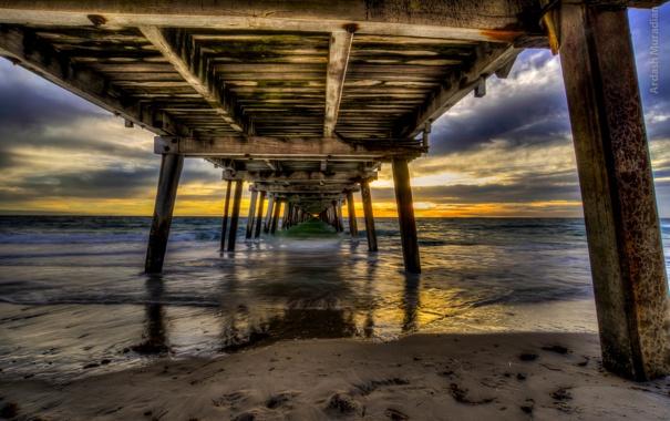 Фото обои море, небо, солнце, пейзаж, закат, природа, океан