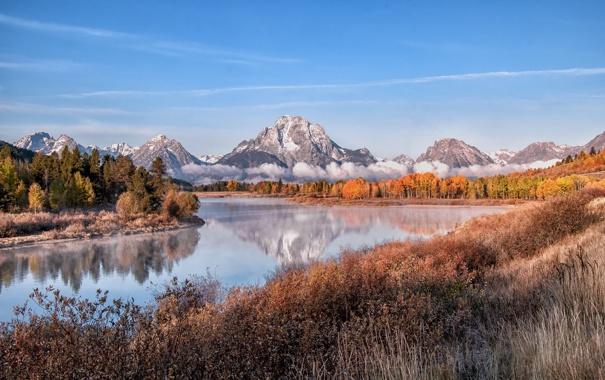Фото обои пейзаж, горы, река