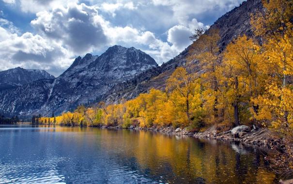 Фото обои осень, пейзаж, горы, озеро