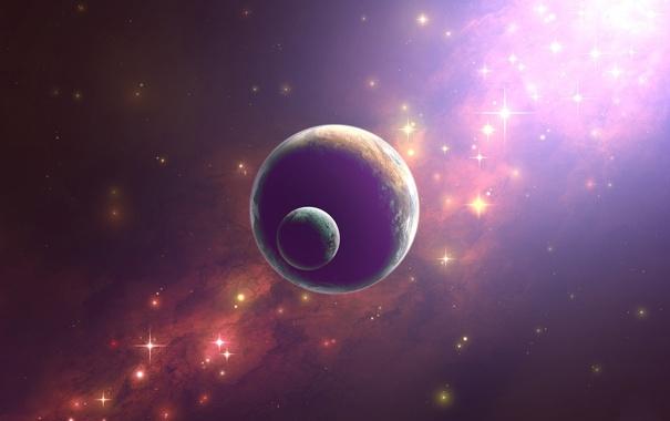 Фото обои свет, сияние, планета, спутник, звёзды, яркость