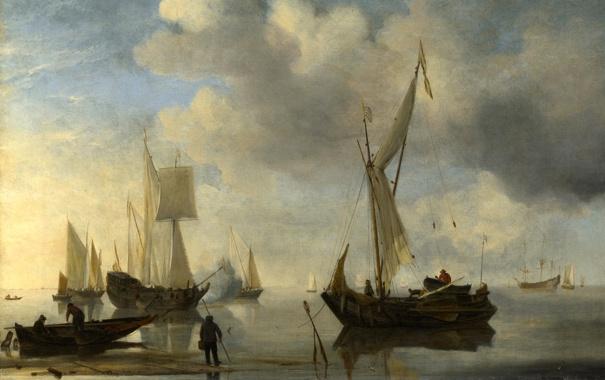 Фото обои море, небо, облака, пейзаж, берег, картина, лодки