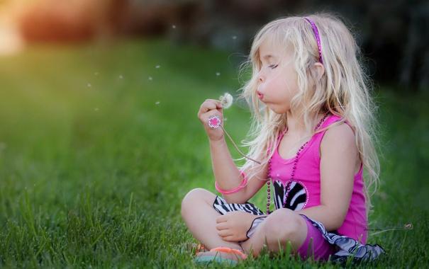 Фото обои лето, одуванчик, девочка