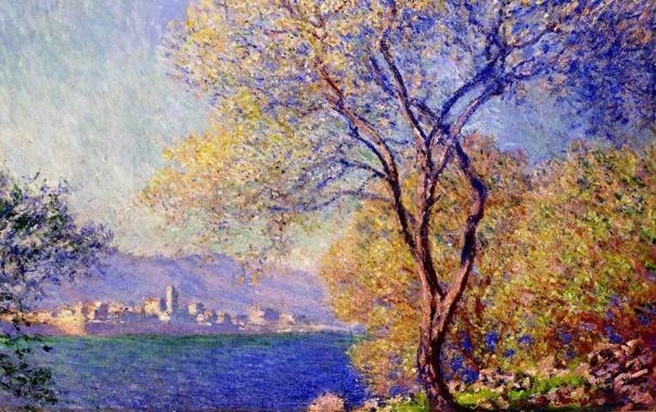 Фото обои пейзаж, дерево, картина, импрессионизм, Клод Моне