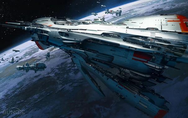 Фото обои космос, планета, корабли, Destiny