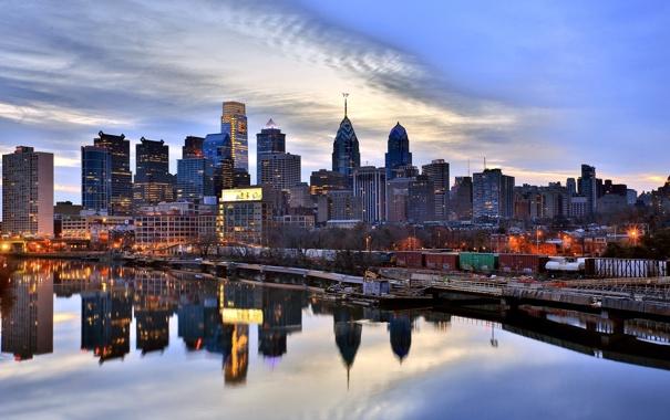 Фото обои США, Филадельфия, набережная, река, Philadelphia, вечер, небоскрёбы