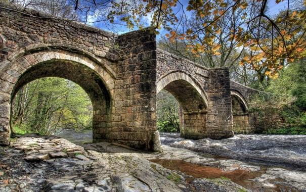 Фото обои пейзаж, река, мост