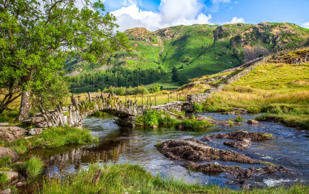 Фото обои горы, мост, река, Англия, Little Langdale Valley