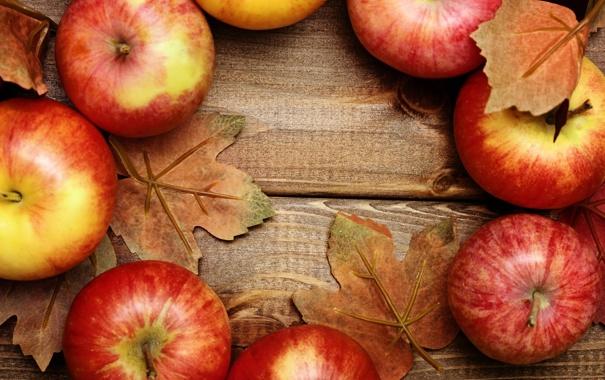 Фото обои яблоки, фрукты, листики, leaves, fruits, apples