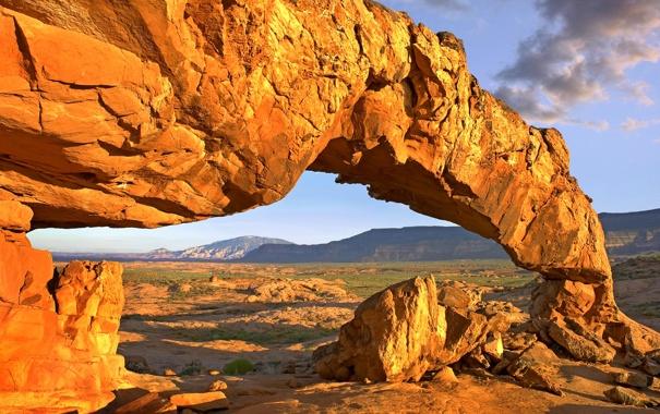 Фото обои небо, горы, скала, камни, арка
