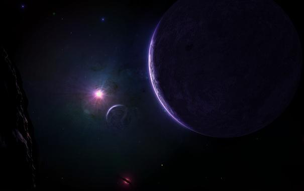 Фото обои звезды, свет, мрак, планеты, спутник, астероид