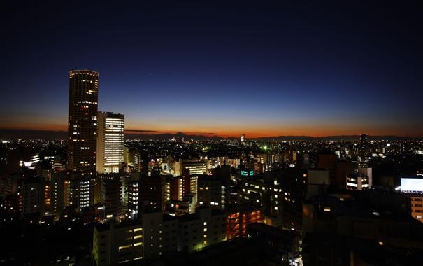 Фото обои небо, горы, ночь, город, япония, дома, токио