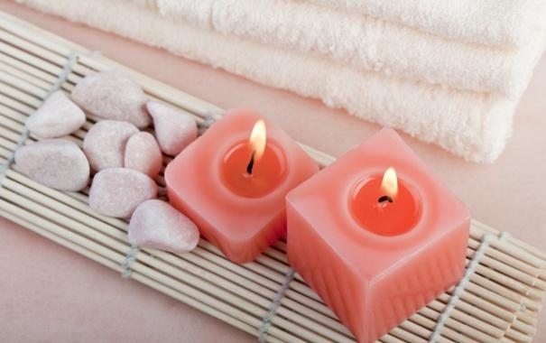 Фото обои полотенце, свечи, Spa, спа, candles, towel, спа камни