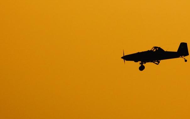 Фото обои небо, силуэт, самолёт