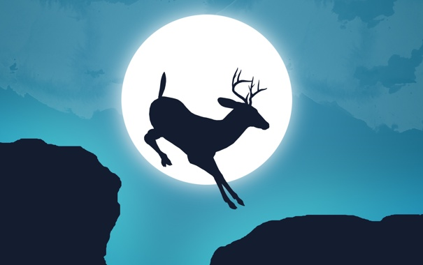Фото обои небо, обрыв, прыжок, луна, олень, рога, пропасть