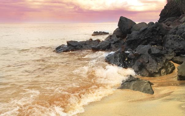Фото обои песок, море, волны, пляж, небо, природа, камни
