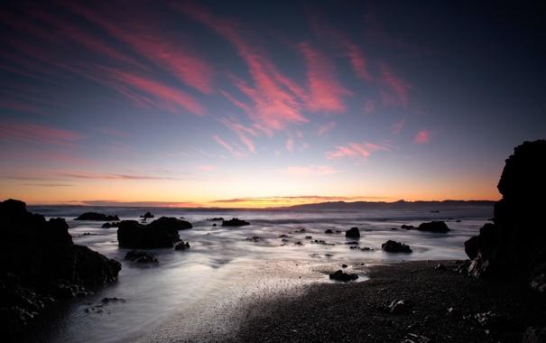 Фото обои песок, море, пляж, закат, камни, пейзажи, landscape