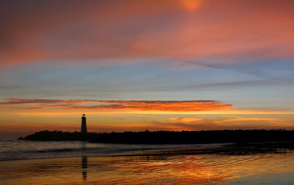 Фото обои море, маяк, Закат, вечер
