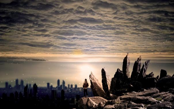 Фото обои небо, город, камни, настроение, человек, разное