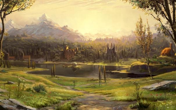 Фото обои поле, пейзаж, дома, храм, речка, Арт