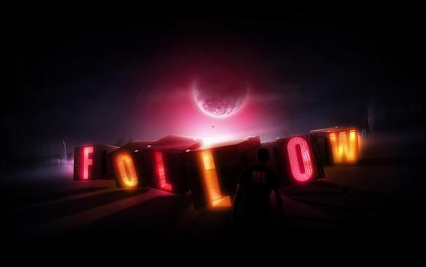 Фото обои свет, надпись, луна, человек, неон, буква, follow me