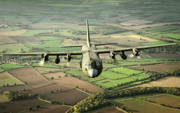 Фото обои полет, самолёт, военно-транспортный, Hercules, C-130K