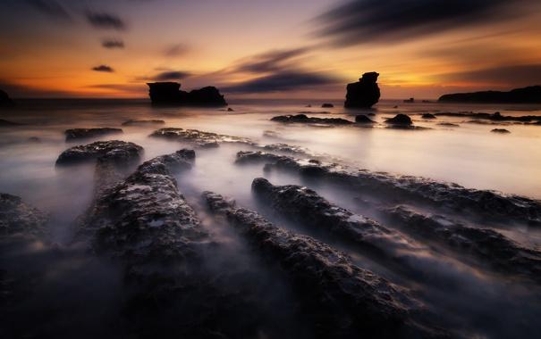 Фото обои природа, океан, скалы, рассвет