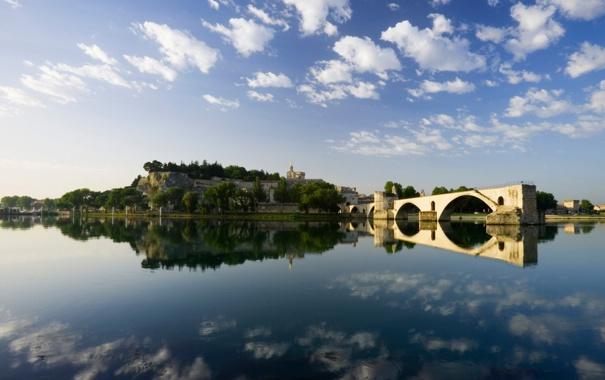 Фото обои мост, река, крепость, франция, Авиньон