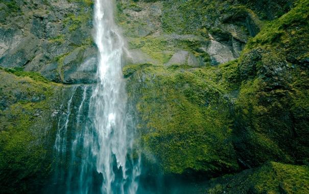 Фото обои зелень, вода, пейзаж, природа, камни, скалы, водопад