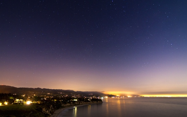 Фото обои море, небо, огни, побережье, звёзды, California, Malibu