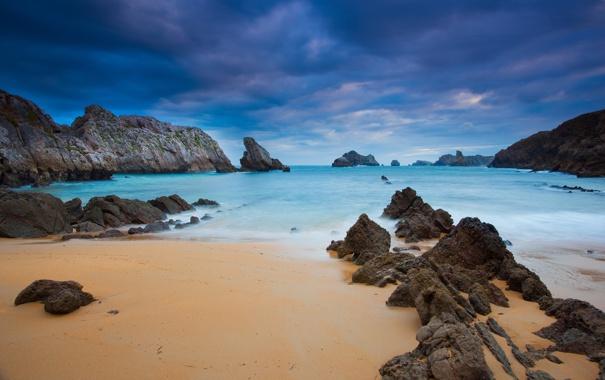 Фото обои песок, море, вода, природа, скала, камни, океан