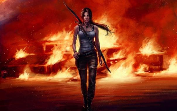 Фото обои девушка, пожар, Tomb Raider, Лара Крофт