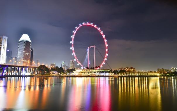 Фото обои вода, ночь, огни, отражение, Сингапур, колесо обозрения