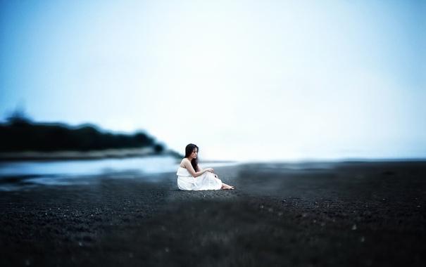 Фото обои девушка, настроение, берег